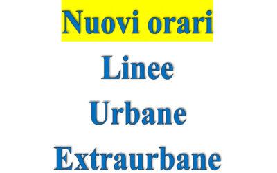 Nuovi orari linee Urbane ed Extraurbane